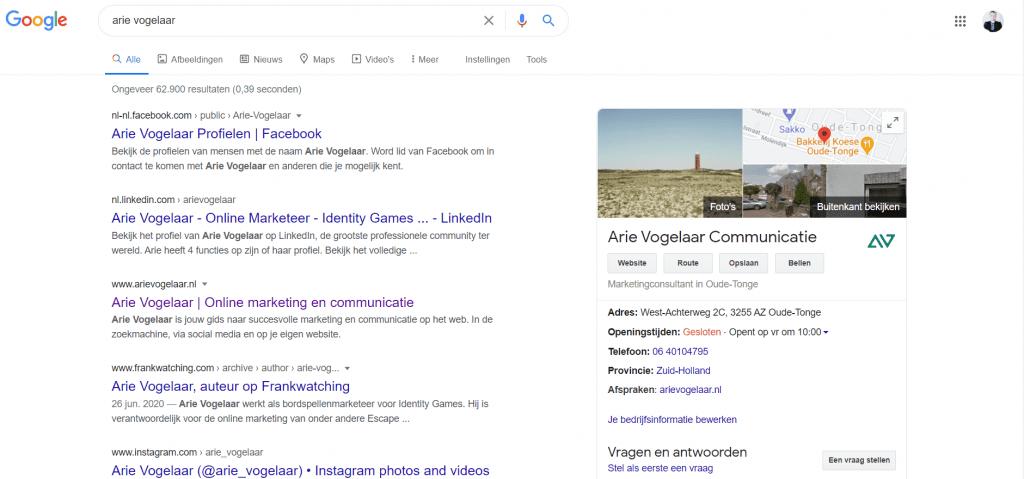 Zoekopdracht in Google naar Arie Vogelaar